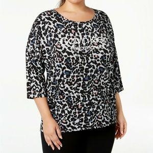 Calvin Klein Top Leopard Print Logo Dolman Grey